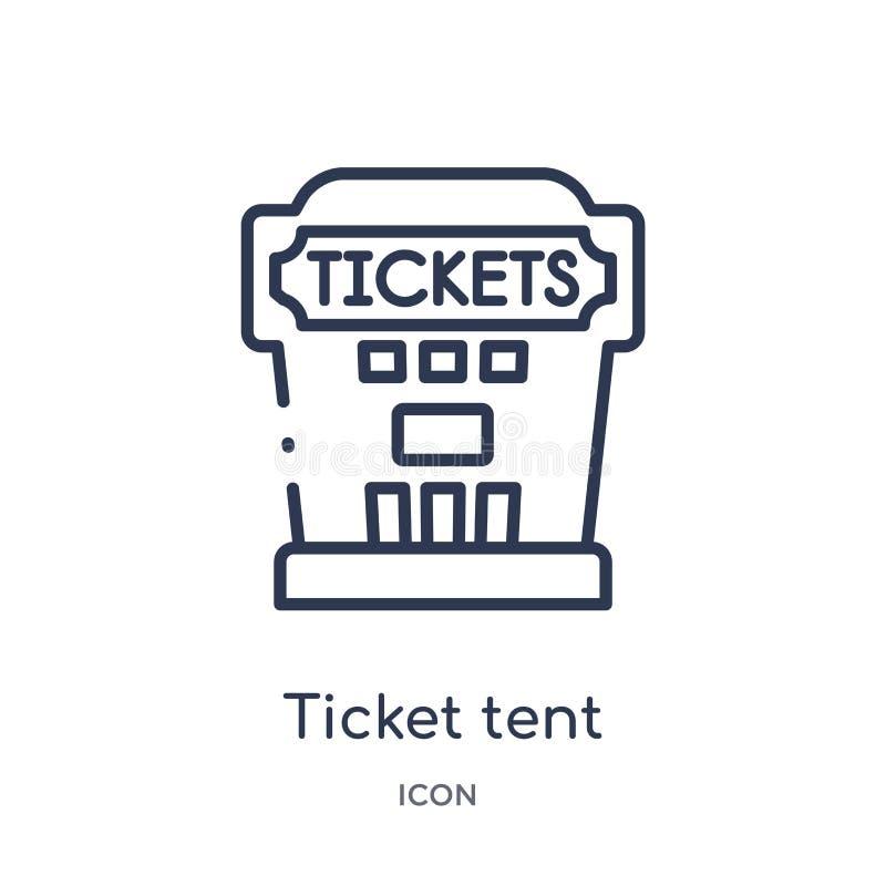 Liniowa biletowa namiotowa ikona od Cyrkowej kontur kolekcji Cienieje kreskowego biletowego namiotowego wektor odizolowywającego  ilustracji