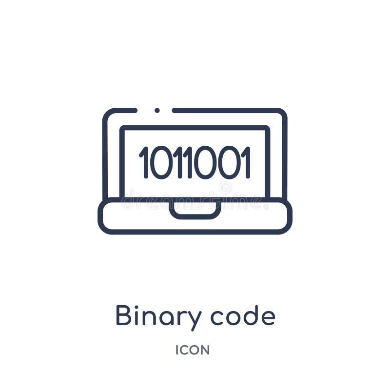 Liniowa binarnego kodu ikona od Sztucznej inteligencji konturu kolekcji Cienieje kreskowego binarnego kodu wektor odizolowywające ilustracji