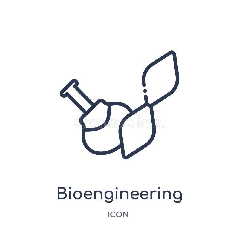 Liniowa bioengineering ikona od Ogólnego konturu kolekcji Cienieje kreskową bioengineering ikonę odizolowywającą na białym tle royalty ilustracja