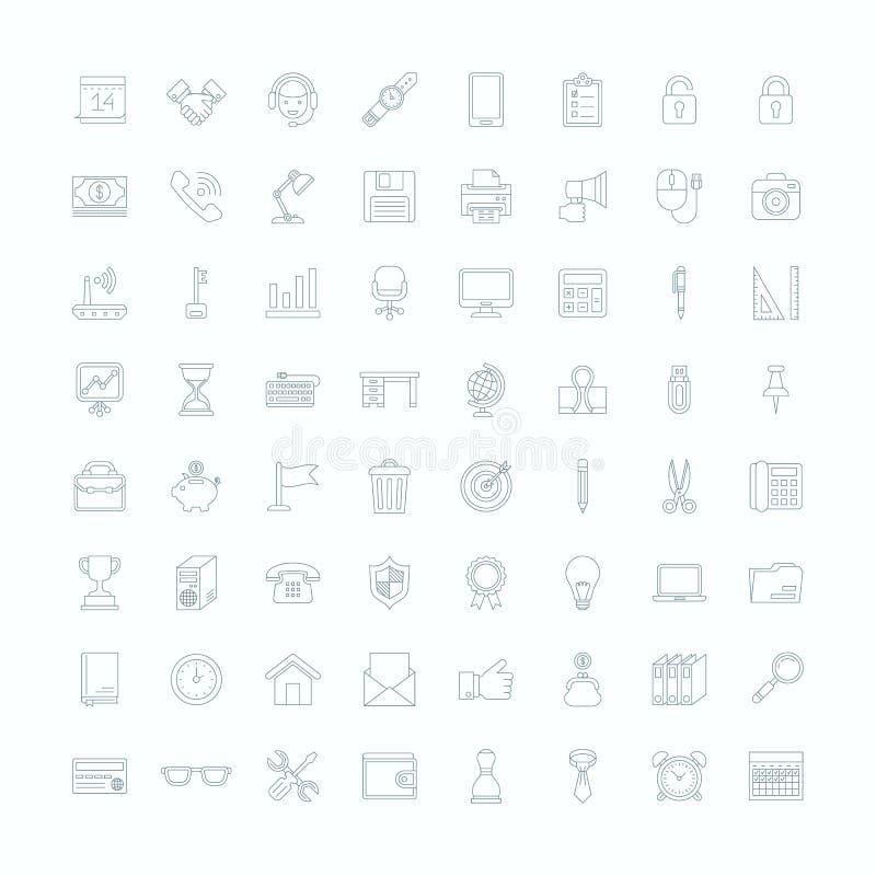 Liniowa biurowego wyposażenia ikony ilustracji