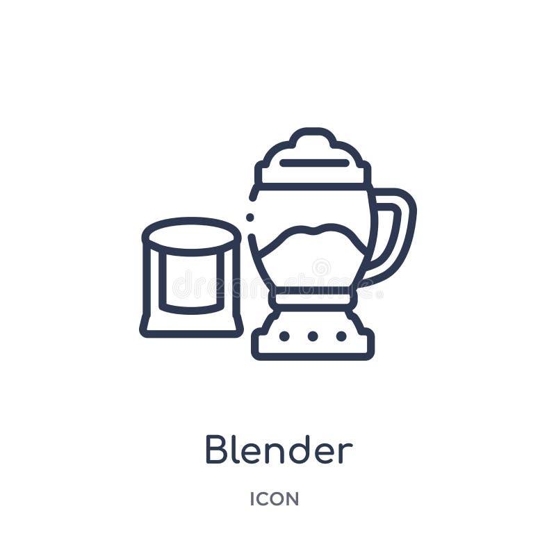 Liniowa blender ikona od alkoholu konturu kolekcji Cienieje kreskowego blender wektor odizolowywającego na białym tle blender mod ilustracja wektor