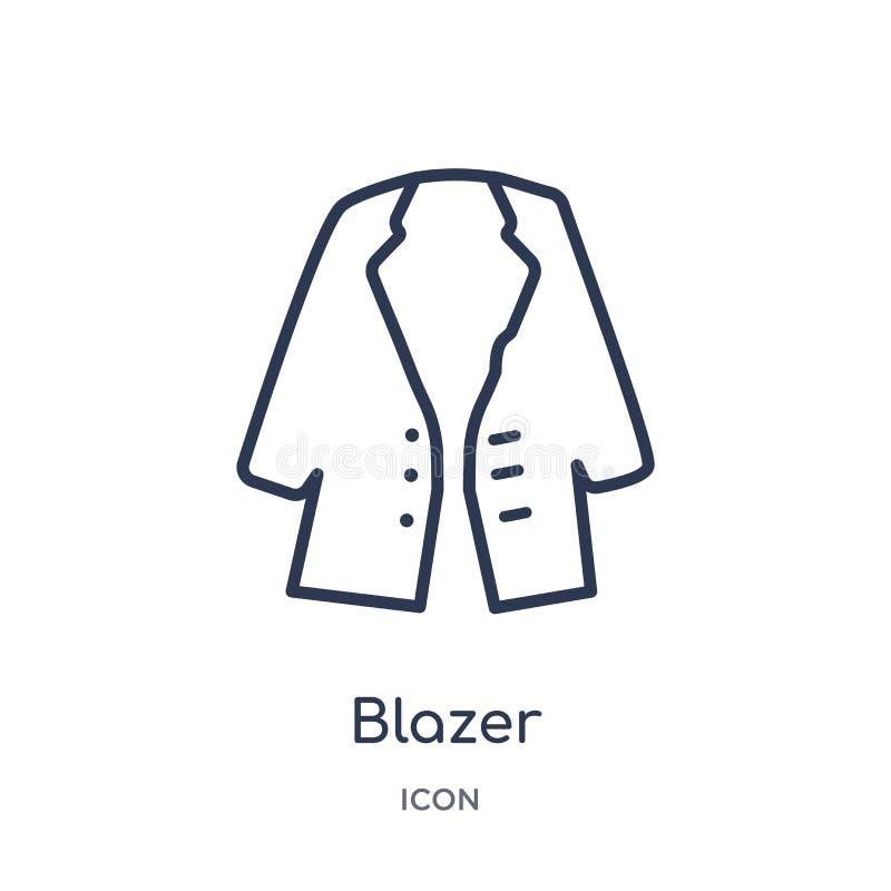 Liniowa blezer ikona od ubrania konturu kolekcji Cienieje kreskowego blezeru wektor odizolowywającego na białym tle blezer modny ilustracji