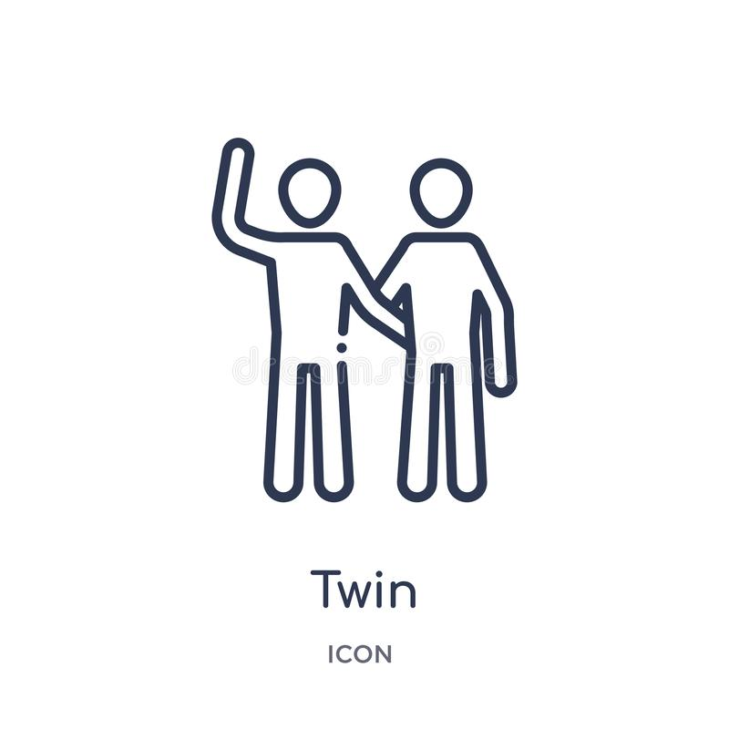 Liniowa bliźniacza ikona od Rodzinnych powiązań zarysowywa kolekcję Cienieje kreskowego bliźniaczego wektor odizolowywającego na  ilustracja wektor