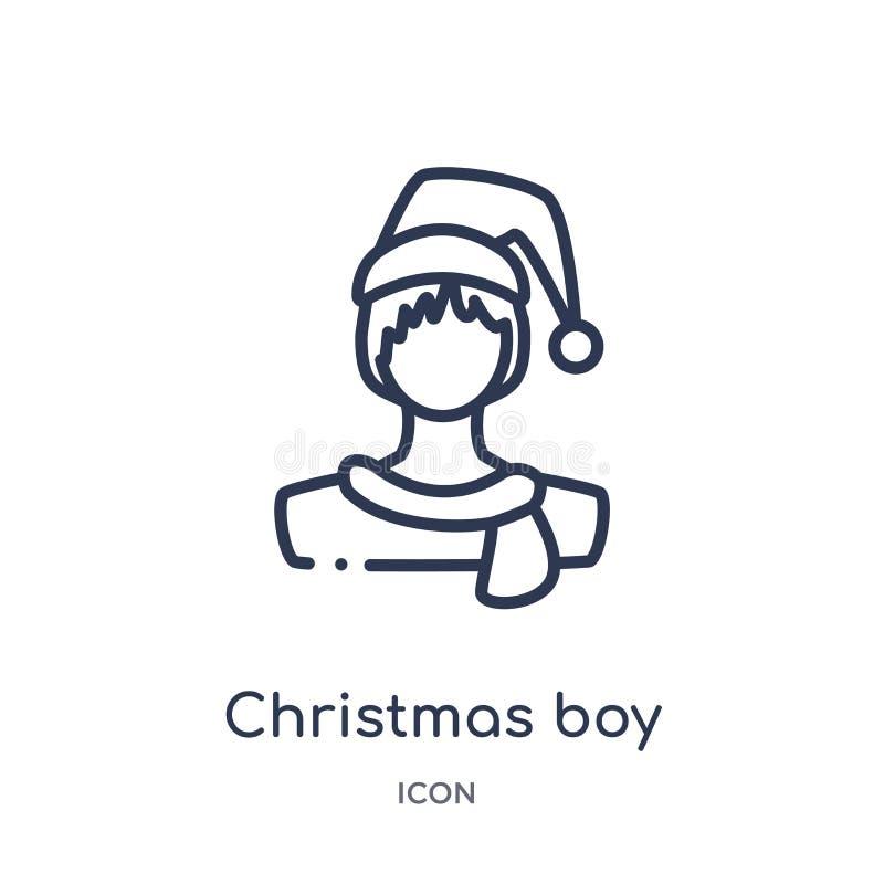 Liniowa boże narodzenie chłopiec ikona od bożych narodzeń zarysowywa kolekcję Cienieje kreskowego boże narodzenie chłopiec wektor ilustracja wektor