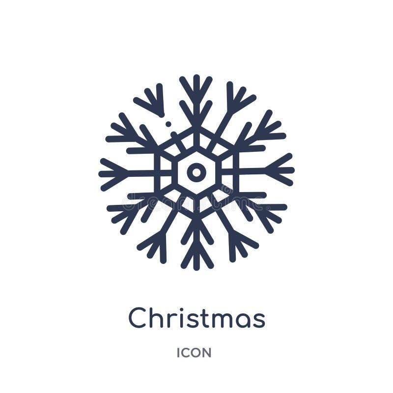 Liniowa bożego narodzenia płatek śniegu ikona od bożych narodzeń zarysowywa kolekcję Cienieje kreskowego bożego narodzenia płatek ilustracji