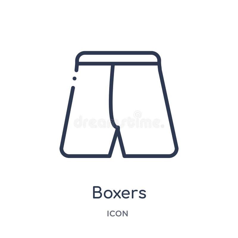 Liniowa bokser ikona od ubrania konturu kolekcji Cienieje kreskowego boksera wektor odizolowywającego na białym tle boksery modni ilustracja wektor