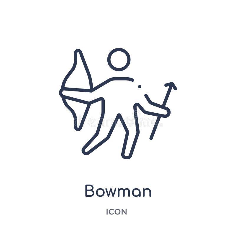 Liniowa bowman ikona od Hokejowej kontur kolekcji Cienieje kreskową bowman ikonę odizolowywającą na białym tle bowman modna ilust ilustracji