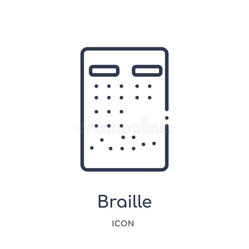 Liniowa Braille ikona od Comunation konturu kolekcji Cienieje kreskowego Braille wektor odizolowywającego na białym tle braille m royalty ilustracja