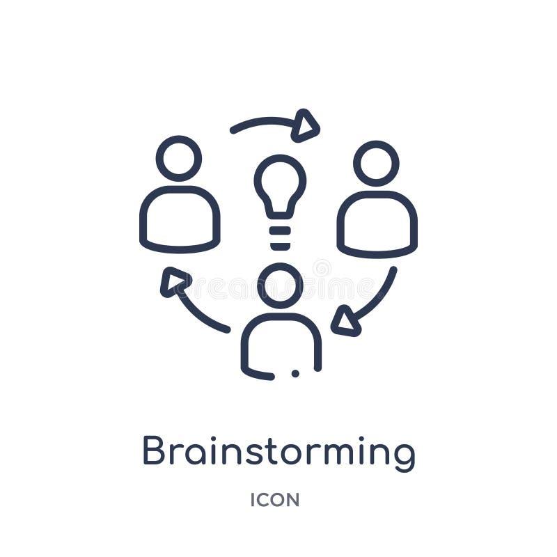Liniowa brainstorming ikona od Kreatywnie proces kontur kolekcji Cienieje kreskowego brainstorming wektor odizolowywającego na bi ilustracji