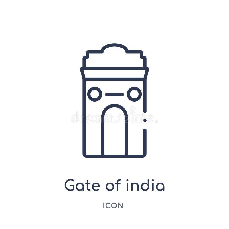 Liniowa brama ind ikona od India konturu kolekcji Cienka kreskowa brama odizolowywająca na białym tle ind ikona brama ind royalty ilustracja