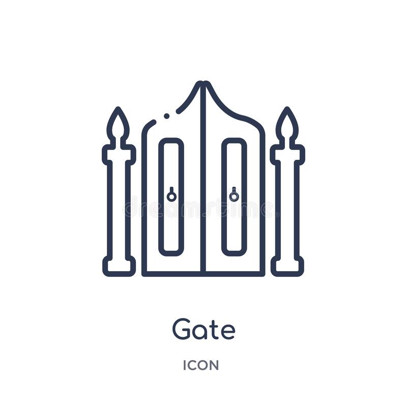 Liniowa bramy ikona od miasto elementów zarysowywa kolekcję Cienki kreskowy brama wektor odizolowywający na białym tle brama modn royalty ilustracja