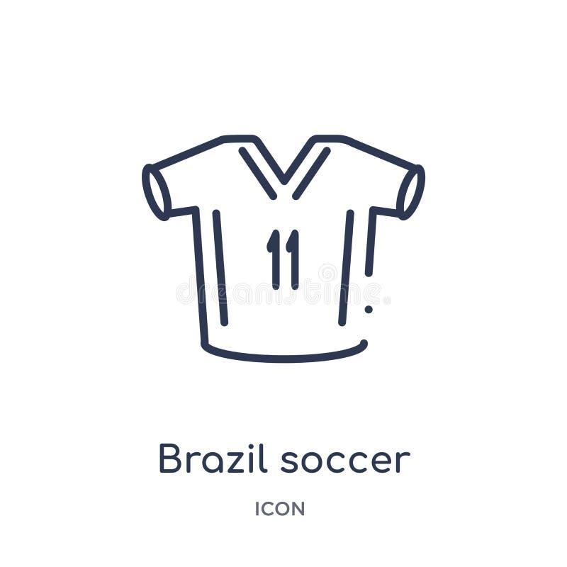 Liniowa Brazil gracz piłki nożnej ikona od kultura konturu kolekcji Cienieje kreskowego Brazil gracz piłki nożnej wektor odizolow royalty ilustracja