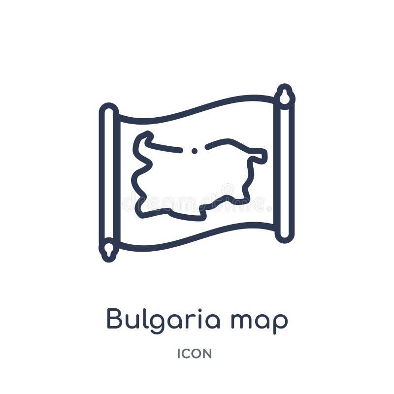 Liniowa Bulgaria mapy ikona od Countrymaps konturu kolekcji Cienki kreskowy Bulgaria mapy wektor odizolowywający na białym tle Bu ilustracja wektor