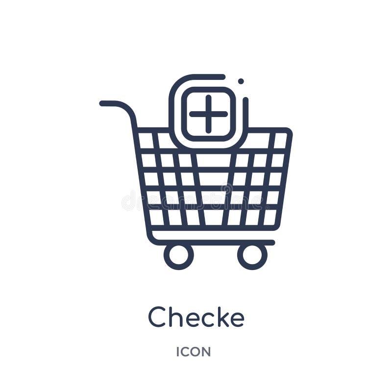 Liniowa checke ikona od handlu konturu kolekcji Cienieje kreskową checke ikonę odizolowywającą na białym tle checke modny ilustracja wektor