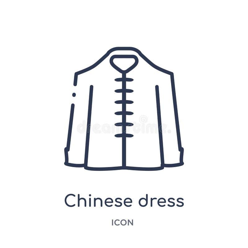 Liniowa chińczyk sukni ikona od Azjatyckiej kontur kolekcji Cienki kreskowy chińczyk sukni wektor odizolowywający na białym tle c ilustracja wektor