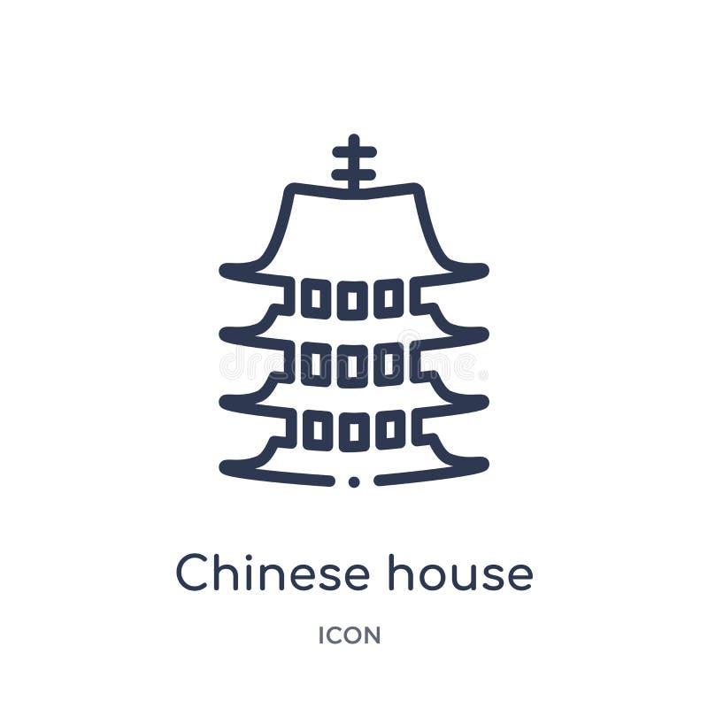 Liniowa chińczyka domu ikona od budynków zarysowywa kolekcję Cienka kreskowa chińczyka domu ikona odizolowywająca na białym tle c ilustracji