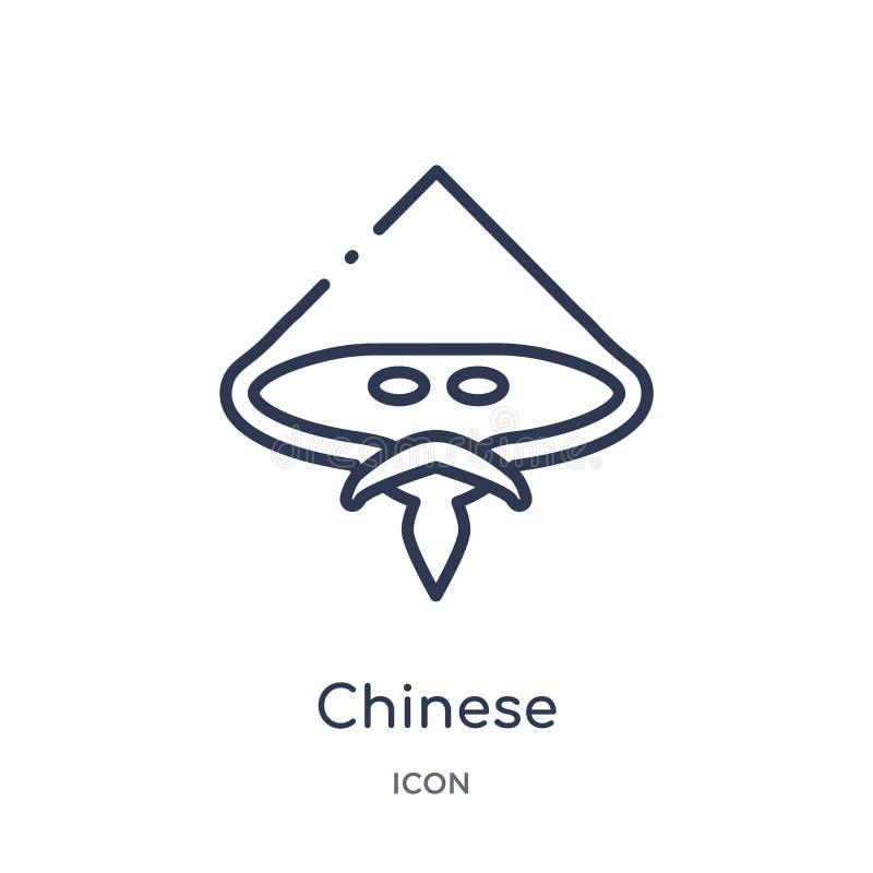 Liniowa chińska ikona od Azjatyckiej kontur kolekcji Cienieje kreskowego chińskiego wektor odizolowywającego na białym tle chińcz ilustracja wektor