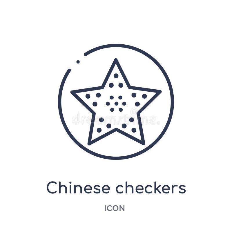 Liniowa chińskich warcabów ikona od rozrywka konturu kolekcji Cienieje kreskową chińskich warcabów ikonę odizolowywającą na biały ilustracji