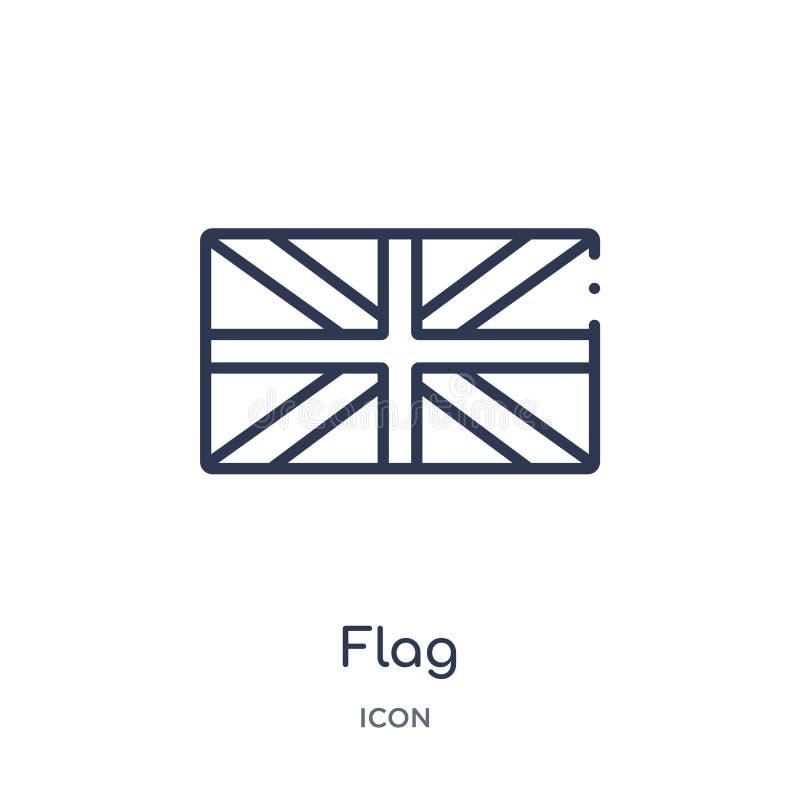 Liniowa chorągwiana ikona od futbolu amerykańskiego konturu kolekcji Cienki linii flagi wektor odizolowywający na białym tle chor ilustracji