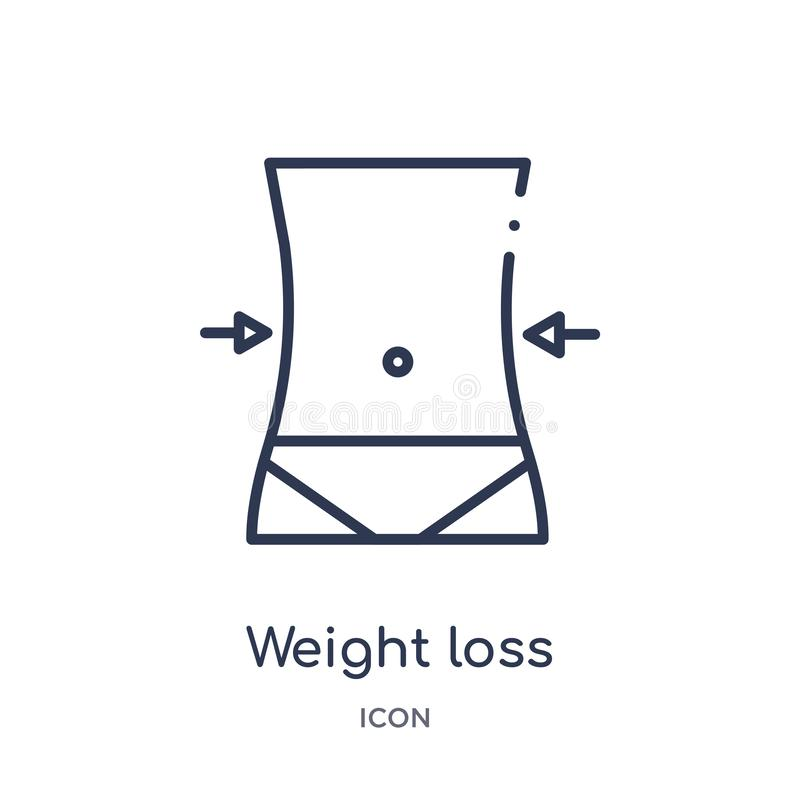 Liniowa ciężar straty ikona od Ogólnego konturu kolekcji Cienieje kreskowego ciężaru straty ikonę odizolowywającą na białym tle o ilustracja wektor
