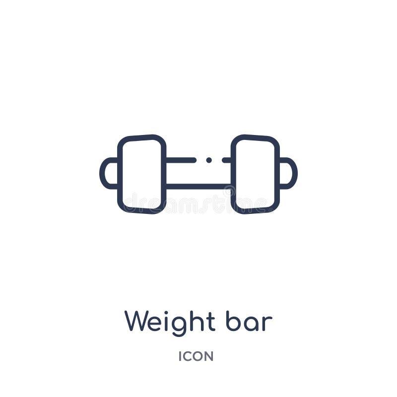 Liniowa ciężaru baru ikona od Gym i sprawność fizyczna zarysowywamy kolekcję Cienieje kreskowego ciężaru baru ikonę odizolowywają ilustracja wektor