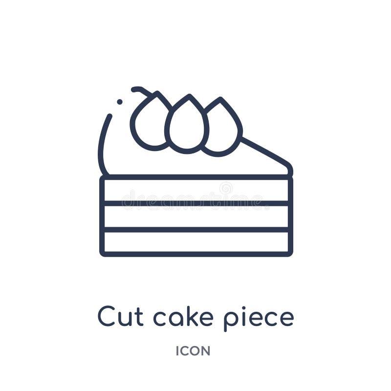 Liniowa cięcie torta kawałka ikona od bistr i restauracyjnej kontur kolekcji Cienki linii cięcia torta kawałka wektor odizolowywa ilustracja wektor