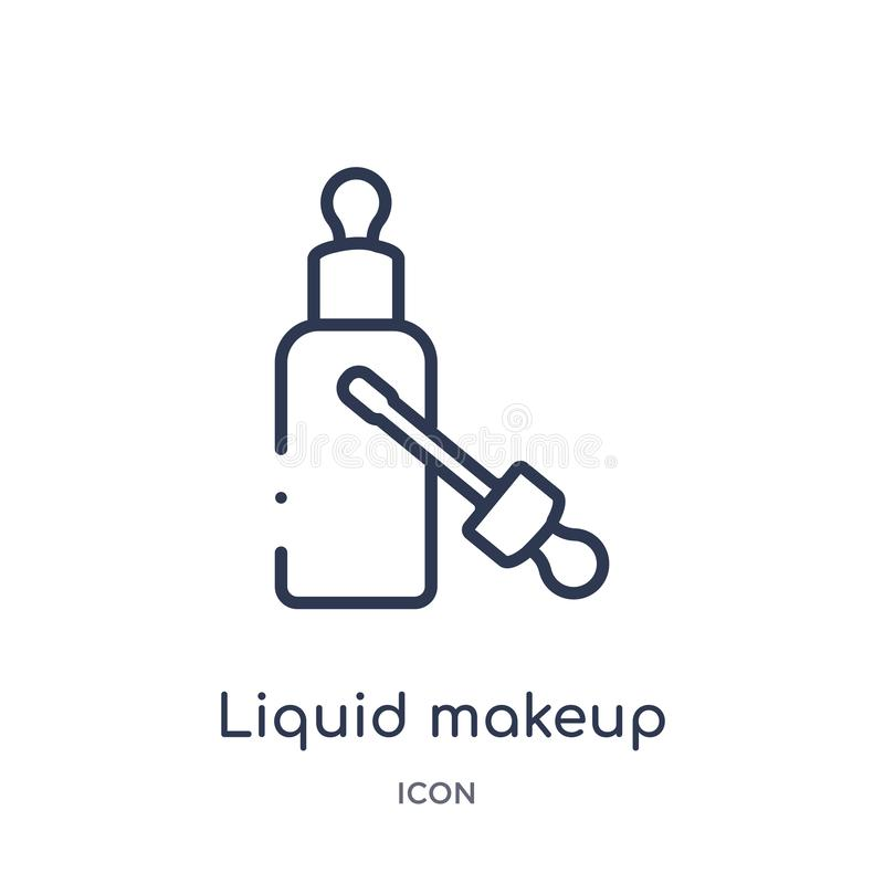 Liniowa ciekła makeup ikona od piękno konturu kolekcji Cienieje kreskowego ciekłego makeup wektor odizolowywającego na białym tle royalty ilustracja