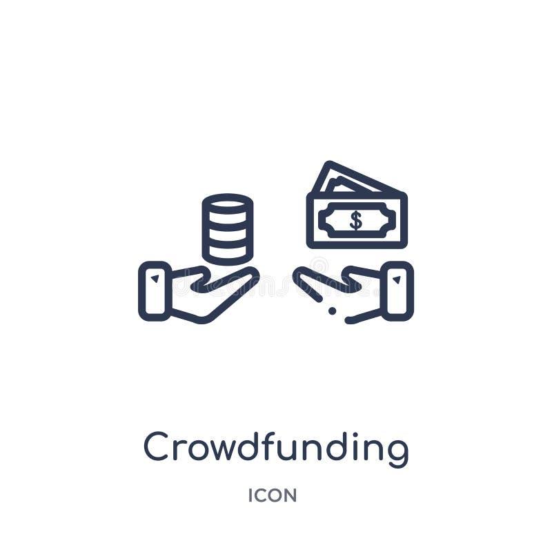Liniowa crowdfunding ikona od Crowdfunding konturu kolekcji Cienieje kreskowego crowdfunding wektor odizolowywającego na białym t royalty ilustracja