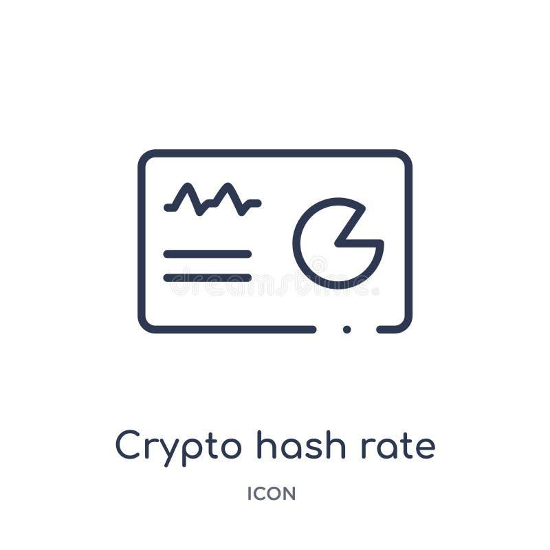 Liniowa crypto hash tempa ikona od Cryptocurrency gospodarki i finanse zarysowywamy kolekcję Cienki kreskowy crypto hash tempa we ilustracji