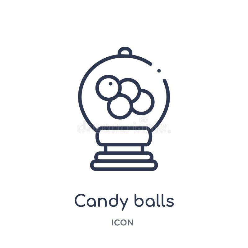 Liniowa cukierek piłek ikona od bistr i restauracyjnej kontur kolekcji Cienieje kreskowego cukierek piłek wektor odizolowywająceg ilustracja wektor