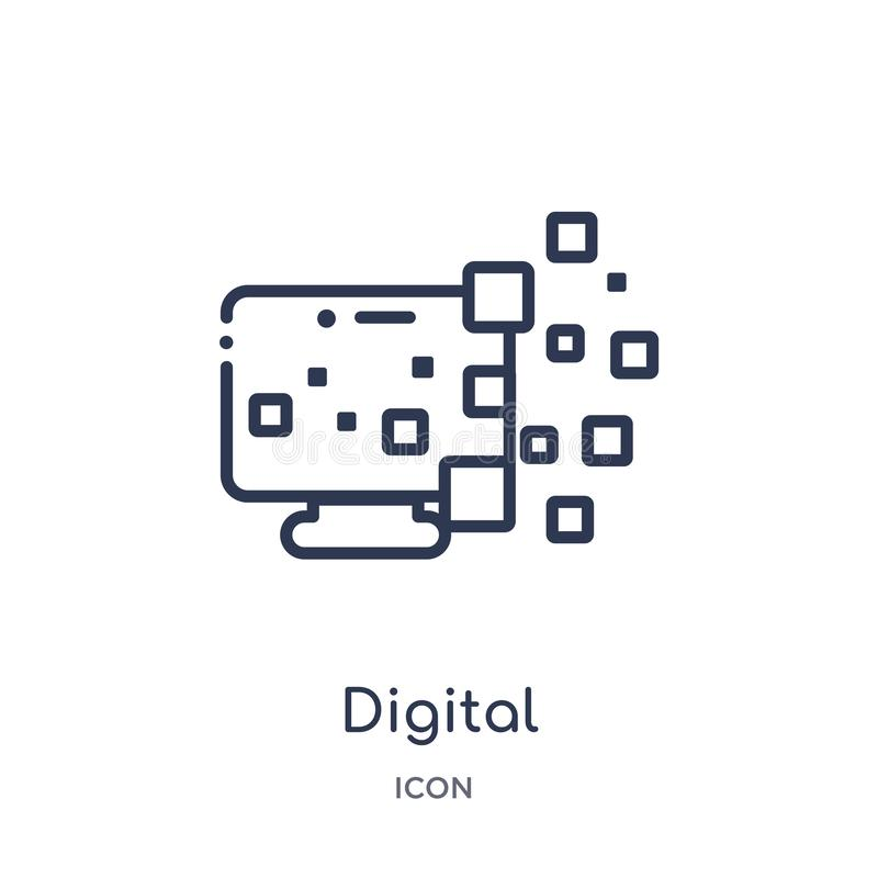 Liniowa cyfrowa transformacji ikona od Ogólnego konturu kolekcji Cienieje kreskową cyfrową transformacji ikonę odizolowywającą na ilustracja wektor