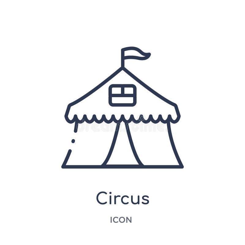 Liniowa cyrkowa ikona od dzieciaków i dziecko zarysowywamy kolekcję Cienieje kreskową cyrkową ikonę odizolowywającą na białym tle royalty ilustracja