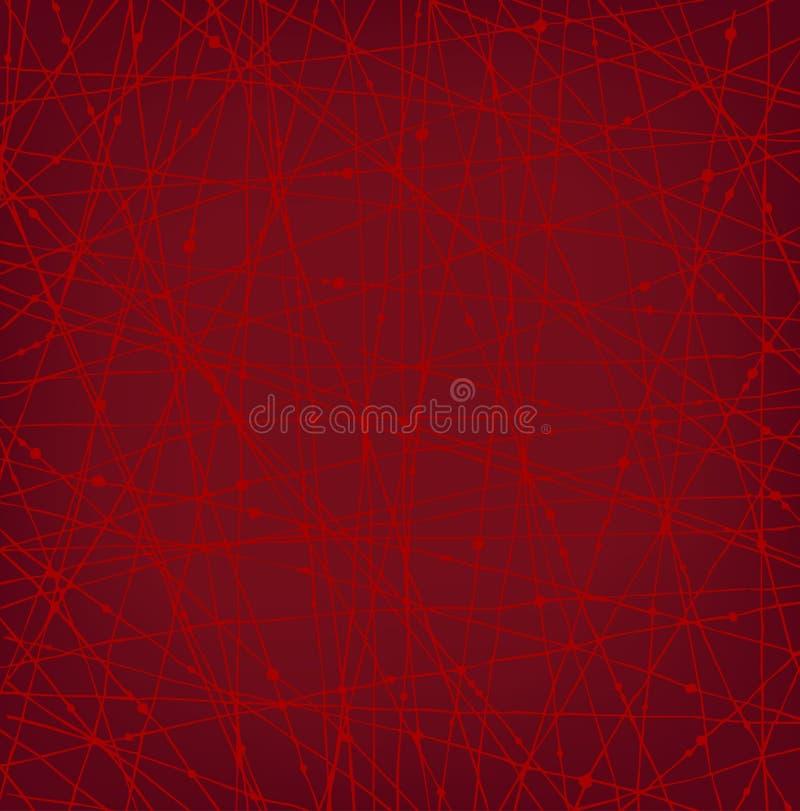 Liniowa czerwona sieci tekstura z kropkami ilustracji