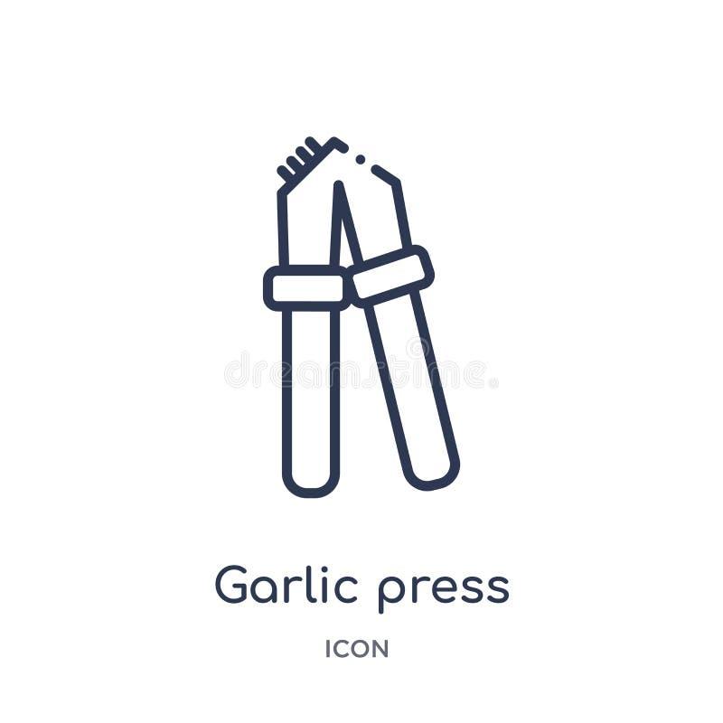 Liniowa czosnek prasy ikona od Kuchennej kontur kolekcji Cienieje kreskową czosnek prasy ikonę odizolowywającą na białym tle Czos ilustracja wektor