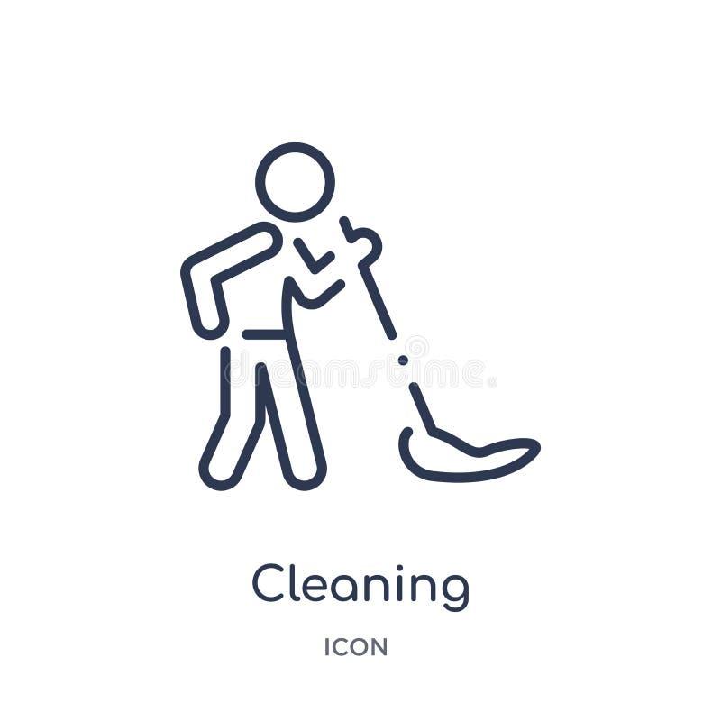 Liniowa czyści ikona od aktywności i hobby zarysowywamy kolekcję Cienieje kreskowego czyści wektor odizolowywającego na białym tl ilustracji