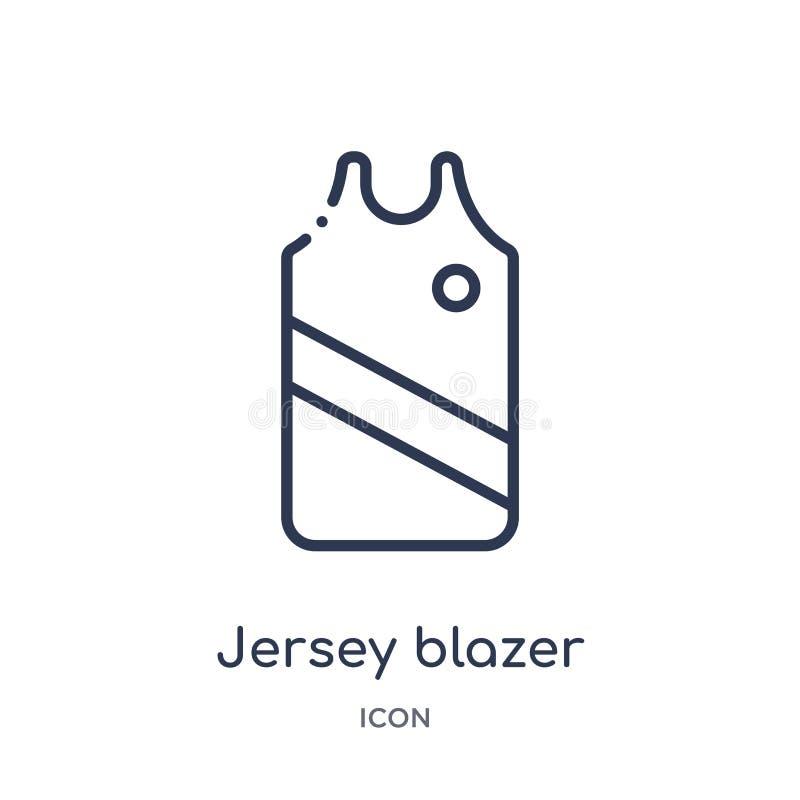 Liniowa dżersejowa blezer ikona od ubrań zarysowywa kolekcję Cienieje kreskowego dżersejowego blezeru wektor odizolowywającego na ilustracji