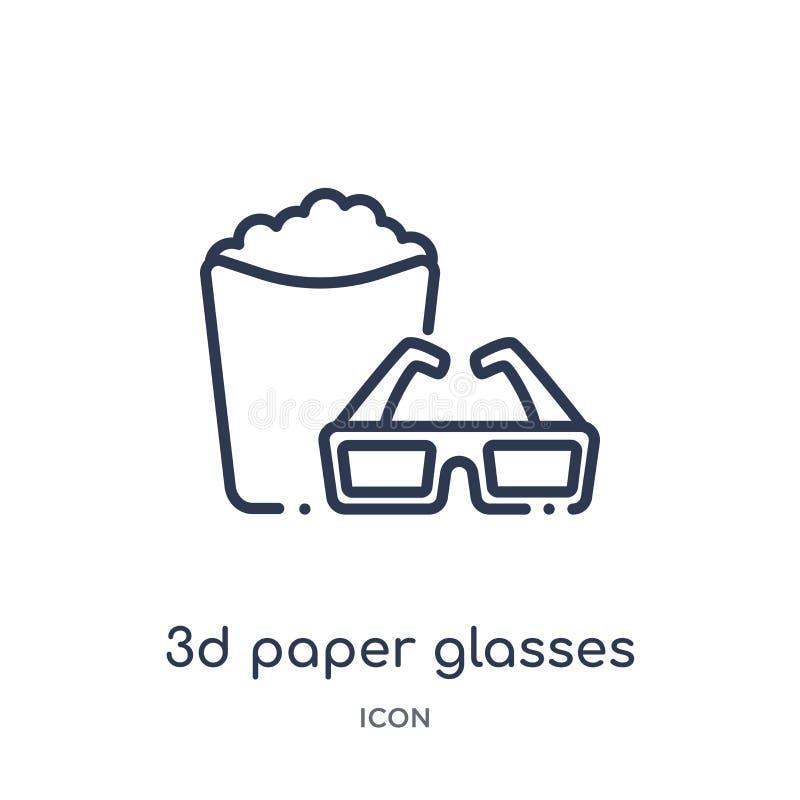 Liniowa 3d papieru szkieł ikona od Kinowej kontur kolekcji Cienka linii 3d papieru szkieł ikona odizolowywająca na białym tle 3d royalty ilustracja