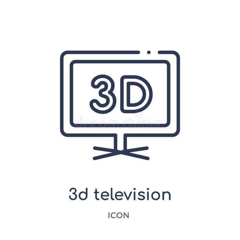 Liniowa 3d telewizyjna ikona od Kinowej kontur kolekcji Cienieje kreskowego 3d telewizyjnego wektor odizolowywającego na białym t royalty ilustracja