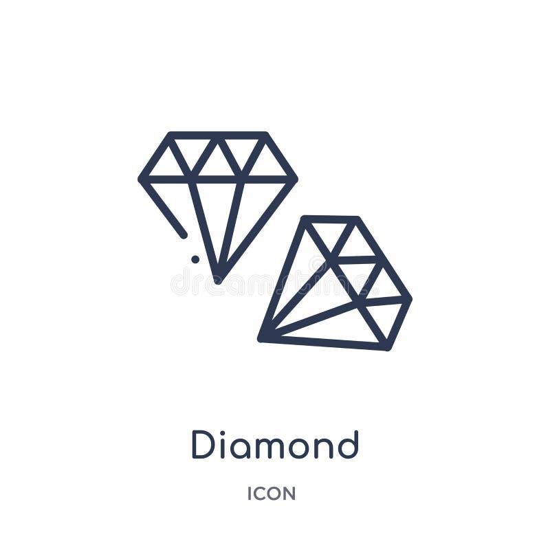 Liniowa diamentowa ikona od obsługa klienta konturu kolekcji Cienieje kreskowego diamentowego wektor odizolowywającego na białym  ilustracji