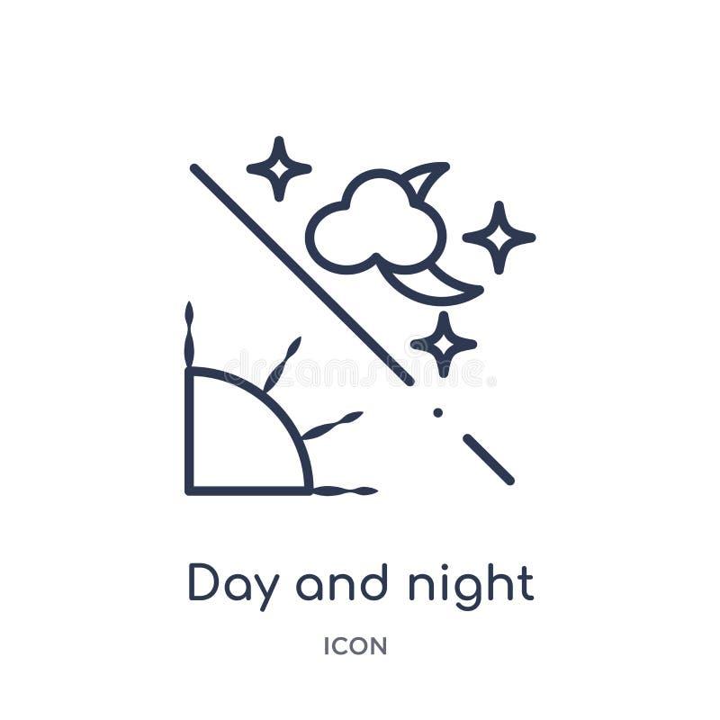 Liniowa dnia i nocy ikona od astronomii zarysowywa kolekcję Cienieje kreskowego dnia i nocy wektor odizolowywającego na białym tl ilustracji