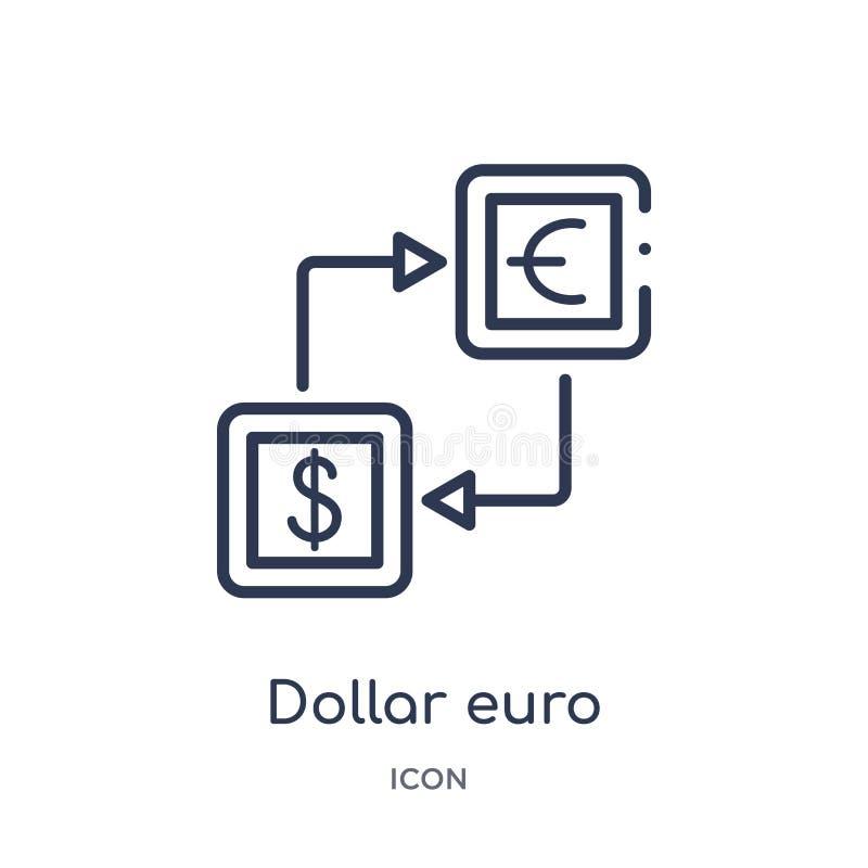 Liniowa dolarowa euro pieniądze wymiany ikona od Biznesowej kontur kolekcji Cienieje kreskową dolarową euro pieniądze wymiany iko ilustracja wektor