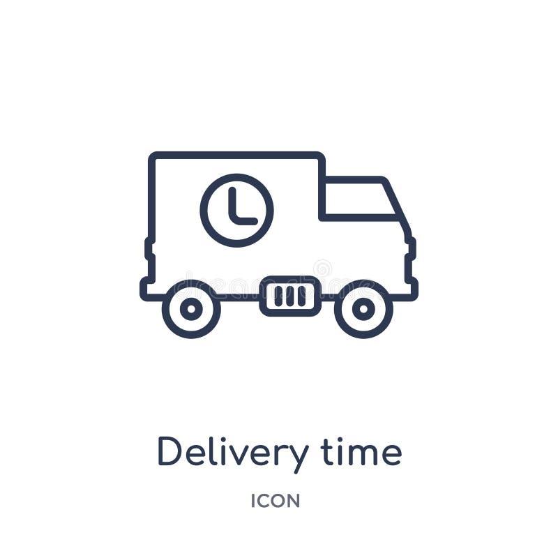 Liniowa doręczeniowego czasu ikona od Doręczeniowej i logistycznie kontur kolekcji Cienieje kreskowego doręczeniowego czasu wekto ilustracja wektor