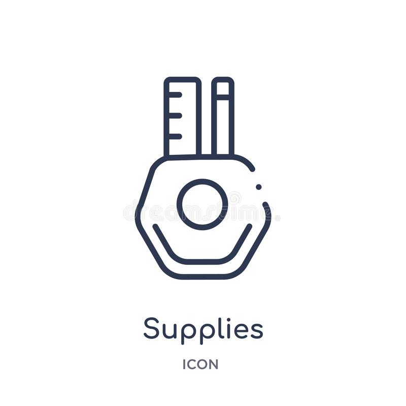 Liniowa dostawy ikona od biznesu i analityka zarysowywamy kolekcję Cienieje kreskowych dostaw wektor odizolowywającego na białym  royalty ilustracja