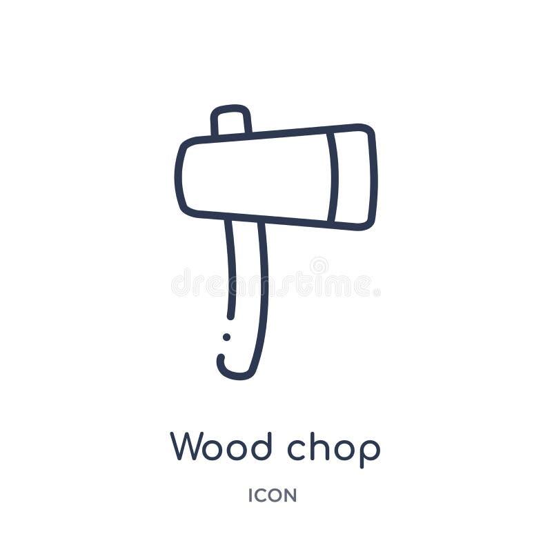 Liniowa drewniana kotlecik ikona od rolnictwa uprawia ziemię kontur kolekcję i uprawia ogródek Cienki kreskowy drewniany kotlecik ilustracja wektor
