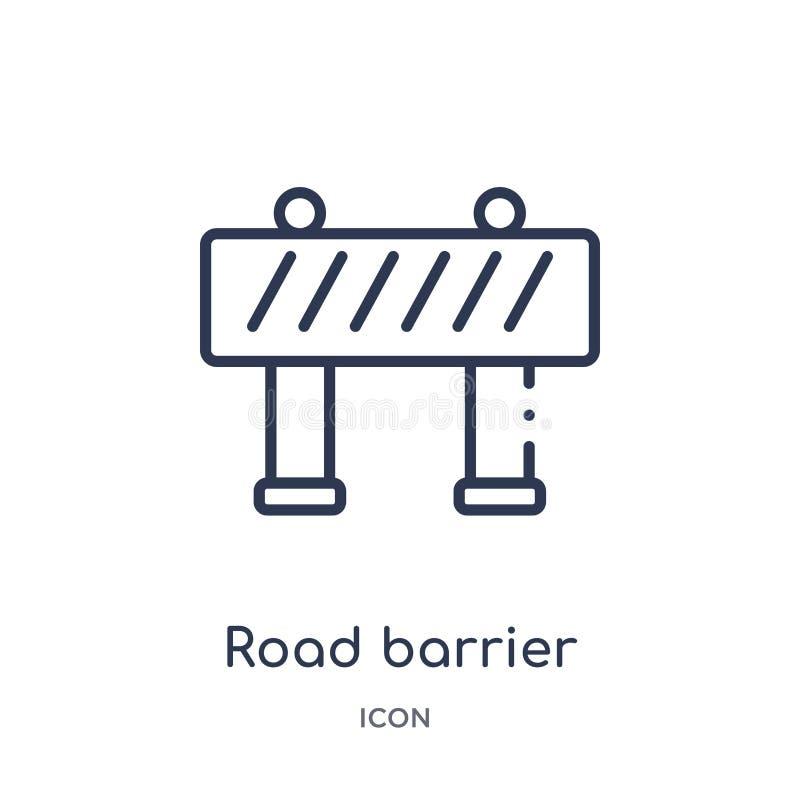 Liniowa drogowa bariery ikona od budowa konturu kolekcji Cienieje kreskowego drogowego bariera wektor odizolowywającego na białym ilustracji