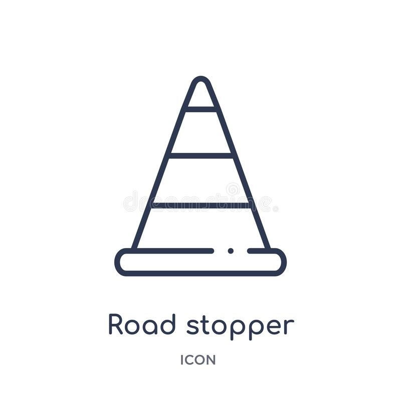 Liniowa drogowa stopper ikona od budowa konturu kolekcji Cienieje kreskowego drogowego stopper wektor odizolowywającego na białym ilustracji