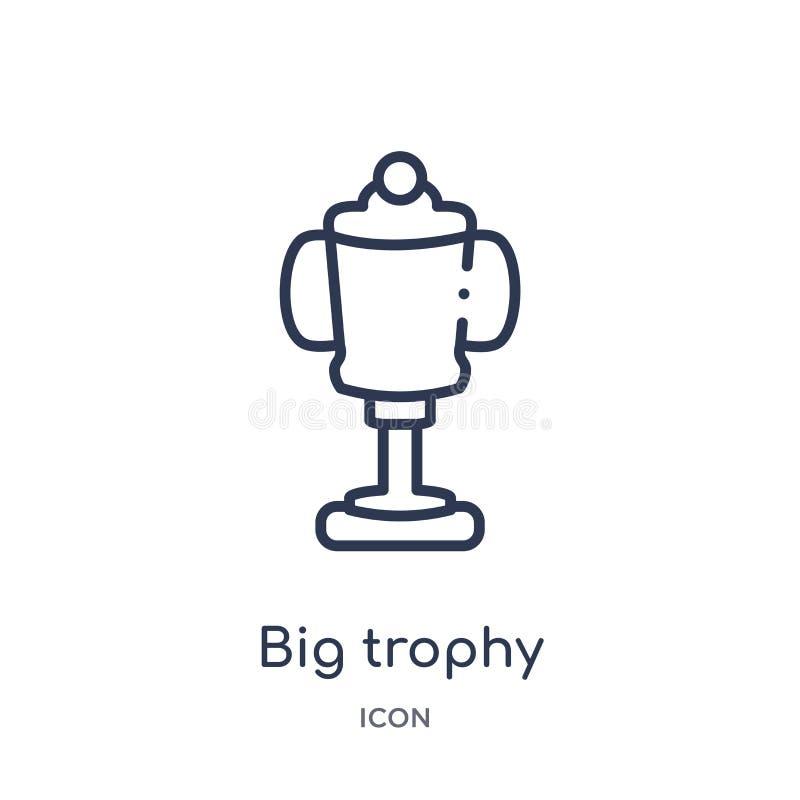 Liniowa duża trofeum ikona od edukacja konturu kolekcji Cienieje kreskowego dużego trofeum wektor odizolowywającego na białym tle royalty ilustracja