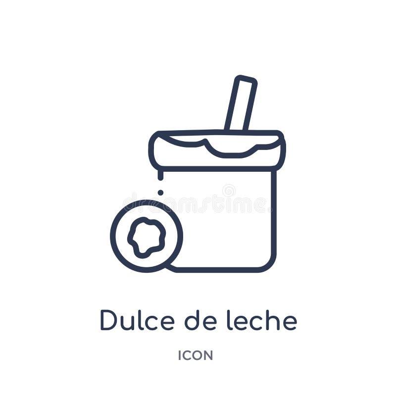 Liniowa Dulka De Leche ikona od jedzenia i restauracyjnej kontur kolekcji Cienieje kreskową Dulka De Leche ikonę odizolowywającą  ilustracji