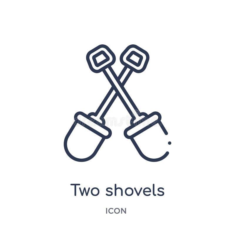 Liniowa dwa łopat ikona od budowa konturu kolekcji Cienki linii dwa łopat wektor odizolowywający na białym tle Dwa ilustracji