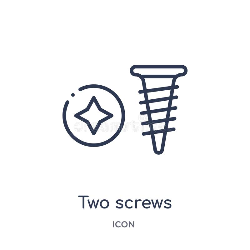 Liniowa dwa śrub ikona od budowa konturu kolekcji Cienki linii dwa śrub wektor odizolowywający na białym tle dwie śruby royalty ilustracja